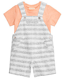 First Impressions 2-Pc. T-Shirt & Striped Overall Set, Baby Boys, Created for Macy's