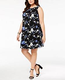 ECI Plus Size Floral-Embroidered Tie-Back Dress