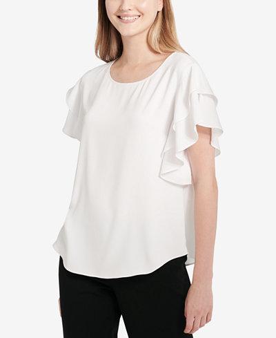 Calvin Klein Flutter-Sleeve Blouse