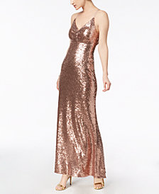 Nightway Sequined Strappy-Back Gown