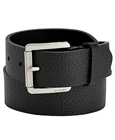 타미 힐피거 벨트 Tommy Hilfiger Knarled Buckle Leather Belt,Black
