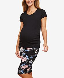 Motherhood Maternity Floral-Print Pencil Skirt