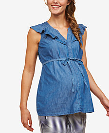 Motherhood Maternity Flutter-Sleeve Chambray Top