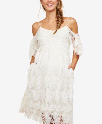 Motherhood Maternity Lace Cold Shoulder Dress