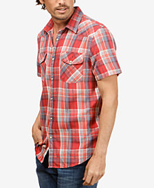 Lucky Brand Men's Dobby Western Plaid Shirt