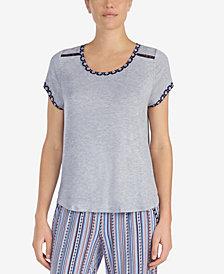 Layla Contrast-Trim Lace-Trim Pajama Top