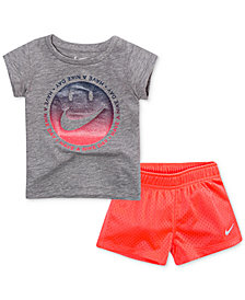 Nike 2-Pc. Graphic-Print T-Shirt & Shorts Set, Little Girls