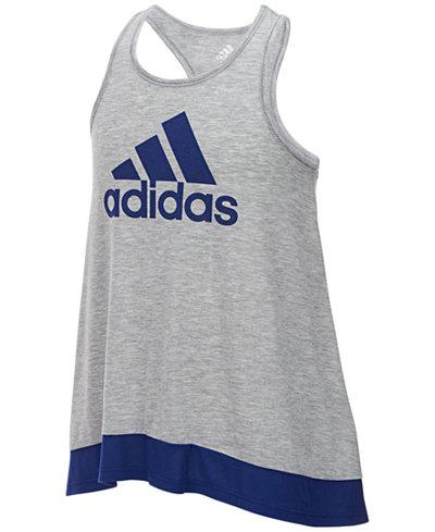 adidas Logo-Print Colorblocked Tank Top, Big Girls