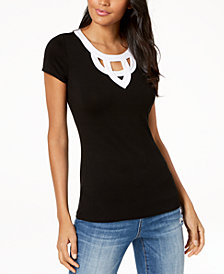 I.N.C. Colorblocked Cutout T-Shirt, Created for Macy's