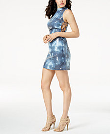 GUESS Kiella Sequin Lace-Up Dress
