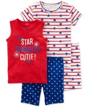 Carters 4Pc Star Spangled Cutie Cotton Pajama Set Little Girls  Big Girls