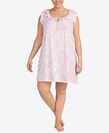 Lauren Ralph Lauren Classic Knits Plus Size Ruffle-Trim Nightgown