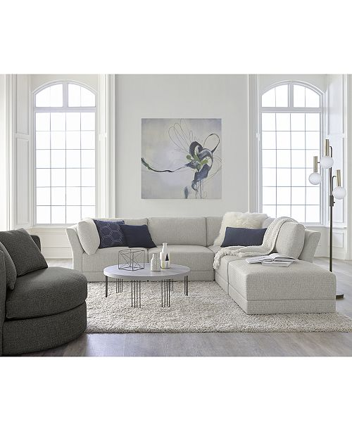 Furniture Mylie 5 Pc Fabric L Shaped Modular Sofa With Ottoman Created For Macy S