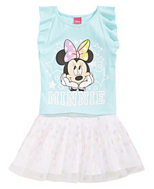 Disney 2-Pc. Minnie Mouse Top & Scooter Skirt Set, Little Girls