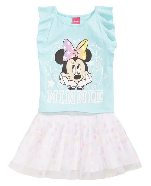 Disney 2-Pc. Minnie Mouse Top & Scooter Skirt Set, Toddler Girls