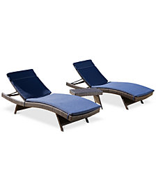 Lucca Outdoor 3-Pc. Chaise Lounger Set, Quick Ship