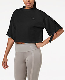 Puma En Pointe Cotton Convertible-Sleeve Cropped T-Shirt