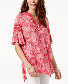 Love Scarlett Petite Printed Flare-Sleeve Top, Created for Macy's