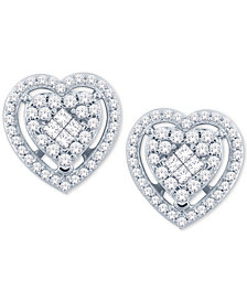 Diamond Heart Cluster Stud Earrings (1/2 ct. t.w.) in 14k White Gold