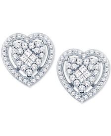 Diamond Heart Cluster Stud Earrings (1/2 ct. t.w.) in 14k White Gold