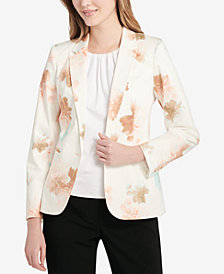 Calvin Klein Floral-Print Blazer, Regular and Petite