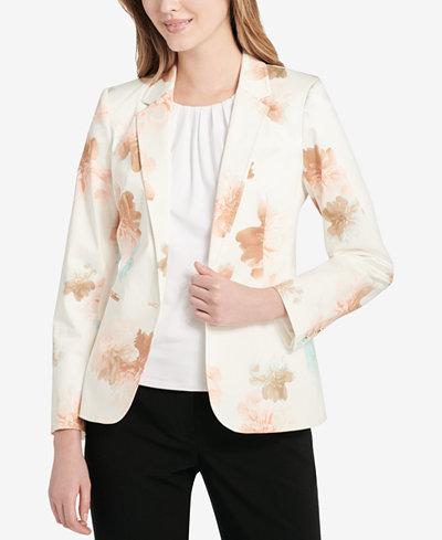 Calvin Klein Floral-Print Blazer, Regular and Petite