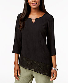 JM Collection Petite Asymmetrical Crinkle Crochet-Hem Top, Created for Macy's
