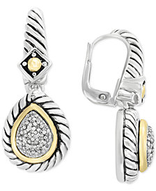 Balissima by EFFY® Diamond Drop Earrings (1/5 ct. t.w.) in Sterling Silver & 18k Gold