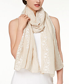 I.N.C. Lovely Floral-Embroidered Scarf, Created for Macy's