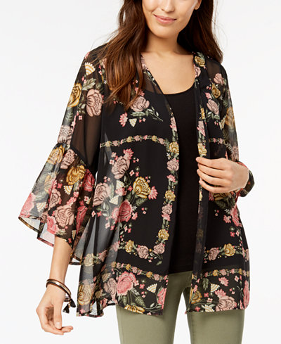 Style & Co Petite Printed Open-Front Kimono Top, Created for Macy's