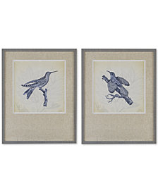 Harbor House Embroidered Birds 2-Pc. Framed Wall Art Set