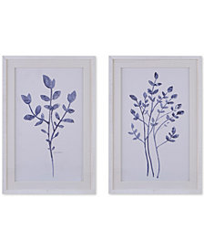 Harbor House Embroidered Florals 2-Pc. Framed Wall Art Set