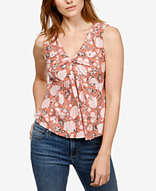 Lucky Brand Cotton Sleeveless Printed Top