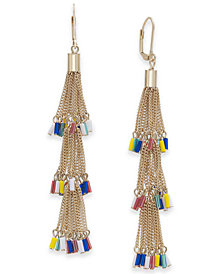 I.N.C. Gold-Tone Multicolor Seed Bead Chain Tassel Drop Earrings, Created for Macy's