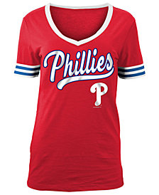 5th & Ocean Women's Philadelphia Phillies Retro V-Neck T-Shirt
