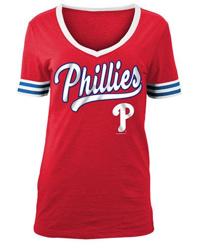 5th & Ocean Women's Philadelphia Phillies Retro V-Neck T-Shirt