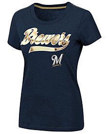 G-III Sports Women's Milwaukee Brewers Script Foil T-Shirt
