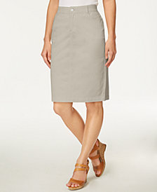 Charter Club Petite Tummy-Control Denim Skirt, Created for Macy's