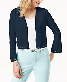 Charter Club Cropped Geo-Cutout Cardigan, Created for Macy's