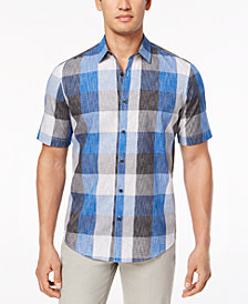 Alfani Men's Textured Plaid Shirt, Created for Macy's