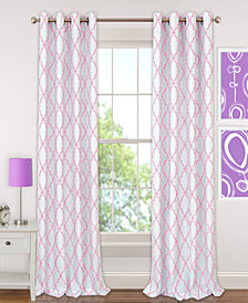 "Elrene Kids' Candice 52"" x 63"" Geo-Print Blackout Grommet Curtain Panel"