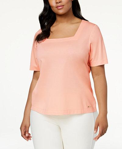 Calvin Klein Plus Size Square-Neck T-Shirt