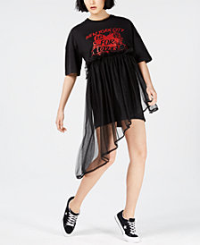 NICOPANDA Asymmetrical Tulle T-Shirt Dress, Created for Macy's