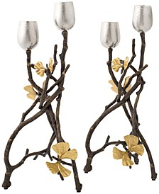 Butterfly Gingko 2-Pc. Candle Holder Set