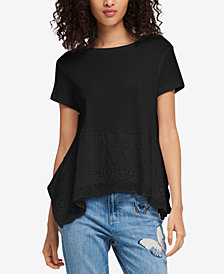 DKNY Cotton Eyelet Top