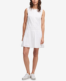 DKNY Sleeveless Cotton Eyelet Fit & Flare Dress