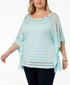 Belldini Plus Size 2-Pc. Shadow-Stripe Poncho
