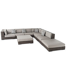 Santa Cruz Outdoor 8-Pc. Sectional Set, Quick Ship