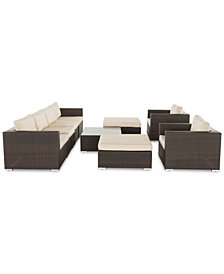 Hermosa Outdoor 9-Pc. Sofa Set, Quick Ship