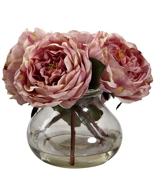 Nearly Natural Fancy Pink Rose Arrangement with Vase
